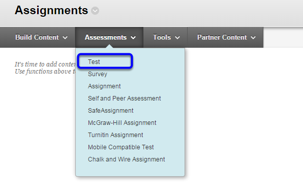 2. Under Assessments, select Test.