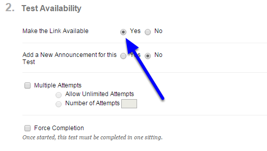 7. In the Test Availability section, choose the Yes button next to Make the Link Available.