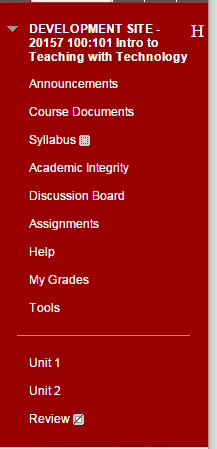 1. Click on the area in the Course Menu where you would like your test to appear to students.