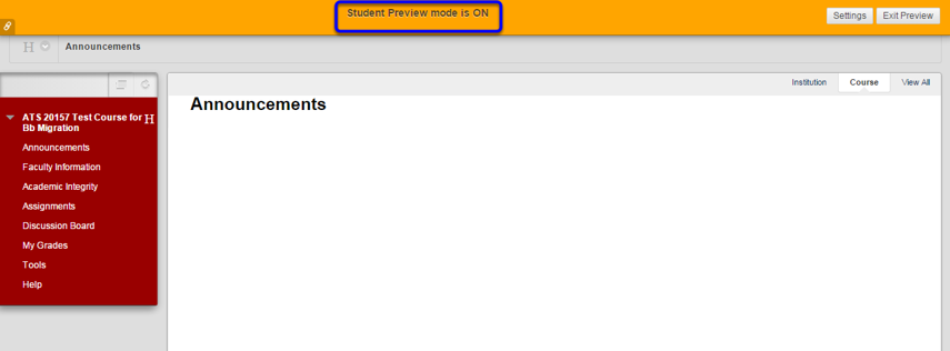 While you are browsing through Blackboard on student view, notice that the orange bar, notifying you that Student Preview mode is ON, appears at the top of your screen until you are ready to Exit Student Preview.