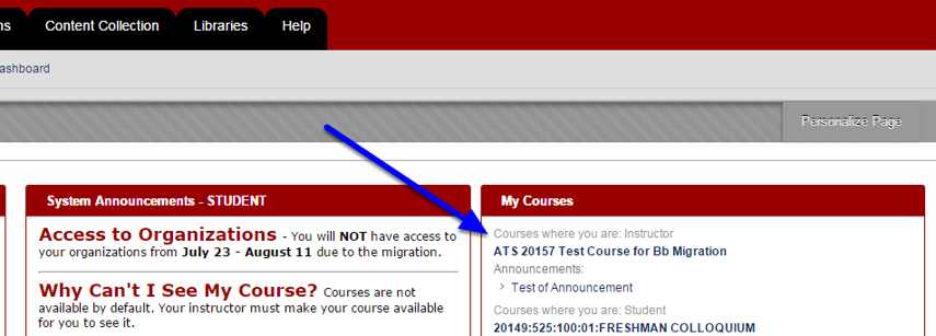 Click on your course in Blackboard.