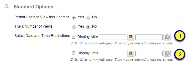 Click the box next to Display Until and enter the date and time after which the item will no longer be available to students.