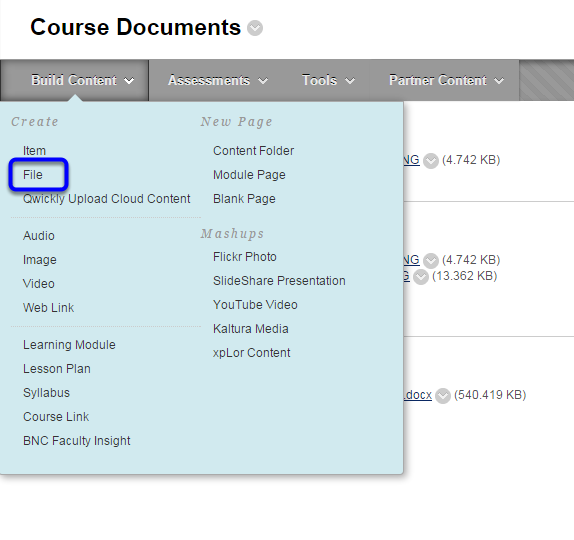Hover your mouse over Build Content, and select File.