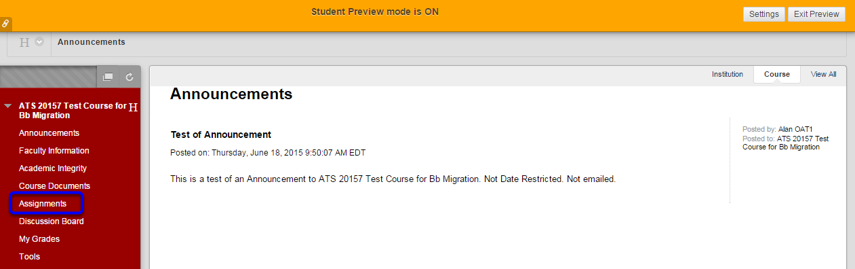Go to where the assignments are located in your course.