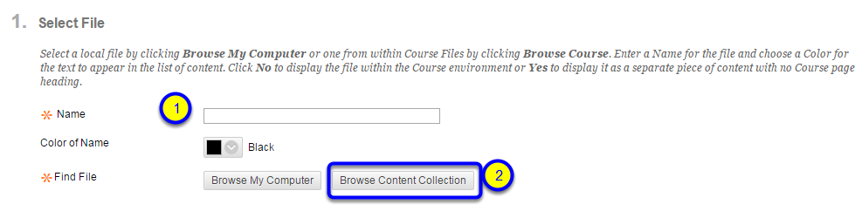 Find your file by clicking on Browse Content Collection.
