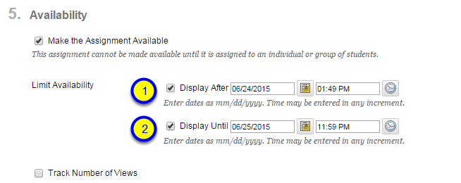 Click the box next to Display Until and enter the date and time after which the assignment will no longer be available to students.