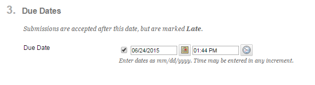 Optional: Set a date and time for when your assignment is due.