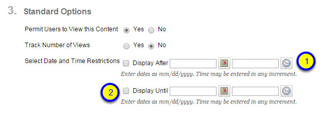 Click the box next to Display Until and enter the date and time after which the audio will no longer be available to students.