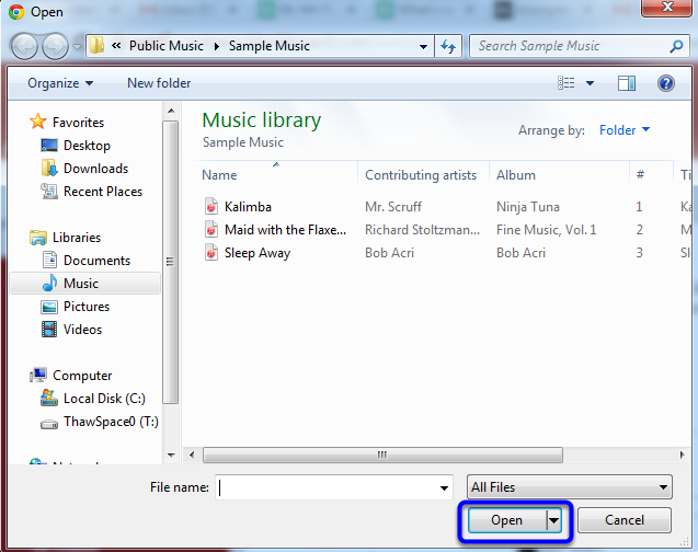 Navigate to the audio file you would like to upload, and click Open.