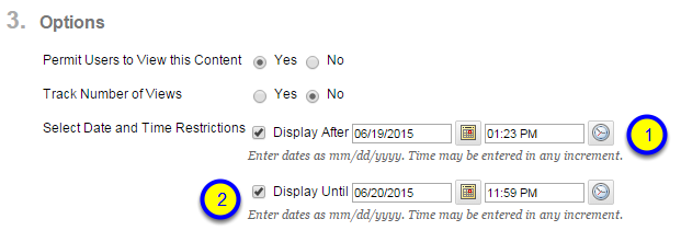 Click the box next to Display Until and enter the date and time after which the blank page will no longer be available to students.