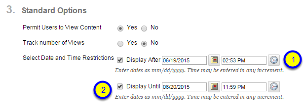 Click the box next to Display Until and enter the date and time after which the module page will no longer be available to students.