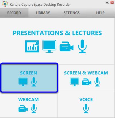 When the Kaltura CaptureSpace Desktop Recorder appears at the bottom right of your computer screen, click on the Screen icon.