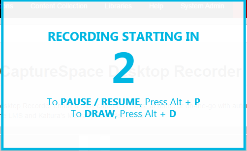 After counting down from 5, the Kaltura CaptureSpace app will begin to record everything that you do on your screen and say into your microphone.