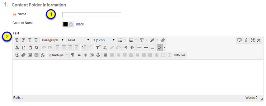 Add any additional text for your content folder in the text box.