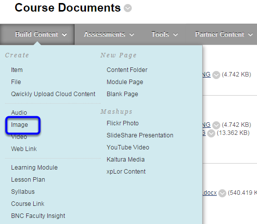 Hover your mouse over the Build Content button and click Image in the drop down menu.