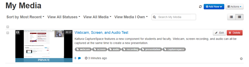 Your presentation appears in the list under My Media.