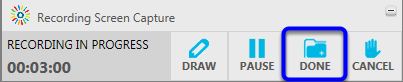 Click on the Done button in the Kaltura toolbar.