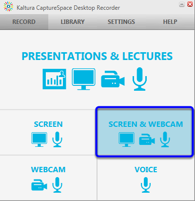 When Kaltura CaptureSpace Desktop Recorder appears at the bottom right of your computer screen, click on the Screen & Webcam icon.