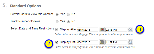 Click the box next to Display Until and enter the date and time that the video will no longer be available to students.