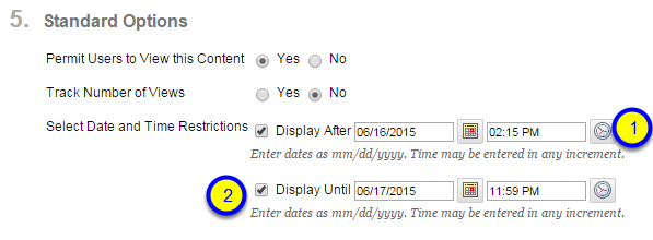 Click the box next to Display Until and enter the date and time that the web link will no longer be available to students.