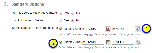 Click the box next to Display Until and enter the date and time that the learning module will no longer be available to students.