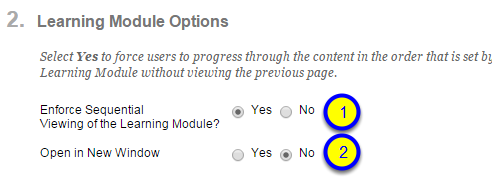 "If you would like your learning module to appear in a new window, click on the button next to Yes for ""Open in New Window."""