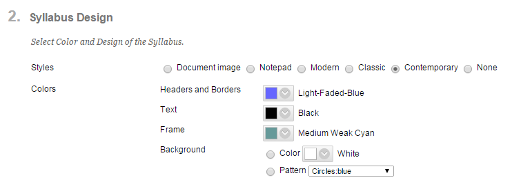 Select the Styles and Colors for your syllabus.