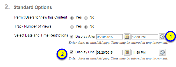 Click the box next to Display Until and enter the date and time after which the course link will no longer be available to students.