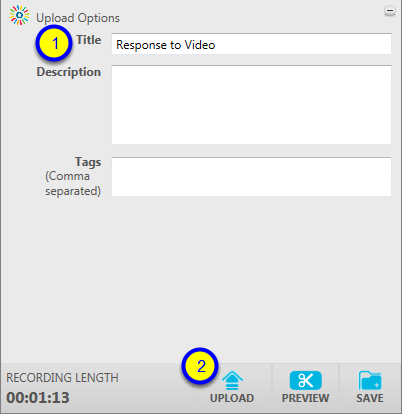 Enter a title for your presentation and click Upload.