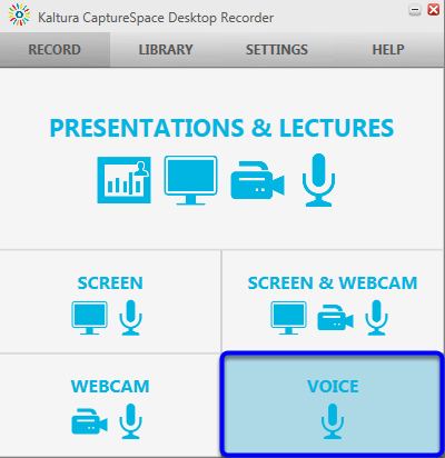 When Kaltura CaptureSpace Desktop Recorder appears at the bottom right of your computer screen, click on the Voice icon.