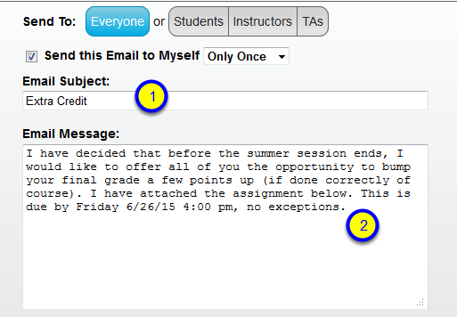 Enter the subject and message for your email.