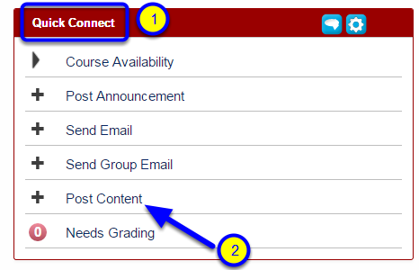 Look for the Quick Connect module and click on Post Content.