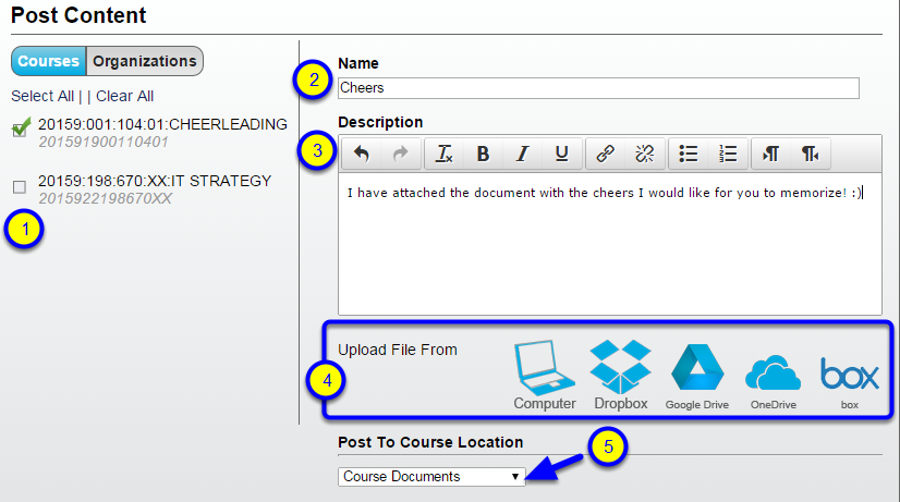 """Click the down arrow under the """"Post to Course Location"""" to select where in your course you would like the content posted."""