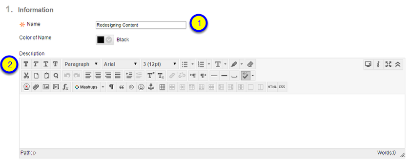 Enter the Name of the assignment and provide instructions in the Description box.