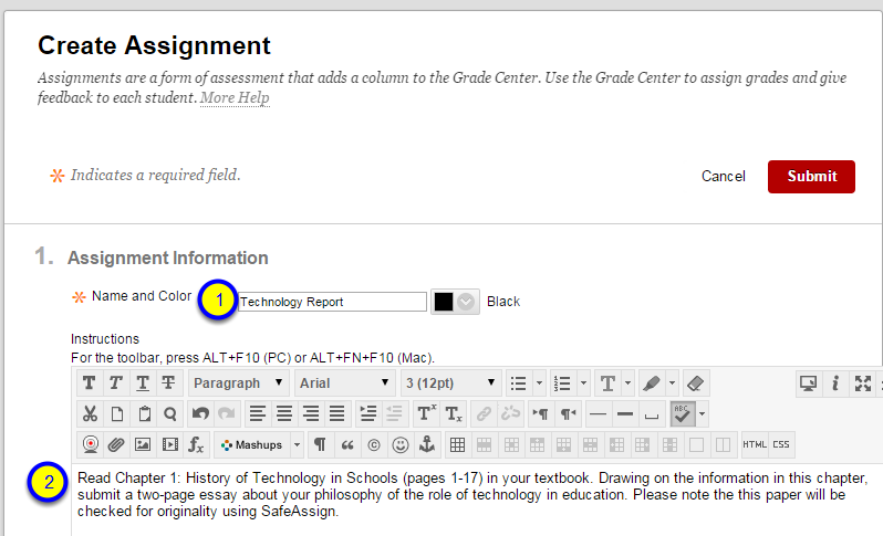 In the Instructions box, type the instructions for the assignment.