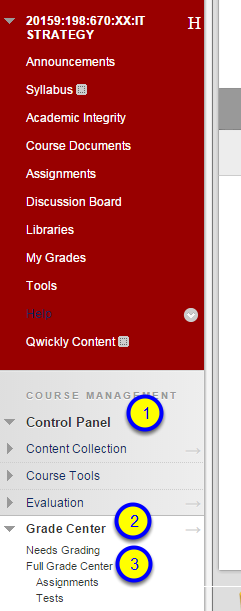 """In the Control Panel section, click on Grade Center and then """"Full Grade Center."""""""