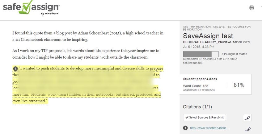 The Originality Report will appear with the matched text highlighted.
