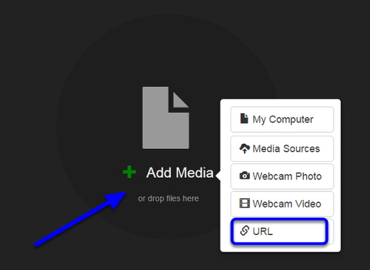 Click on the Add Media circle, and click on URL in the contextual menu.