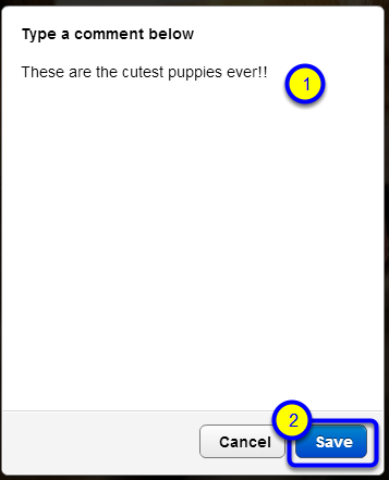 Enter your comment in the text box, and click Save when you are done.