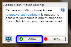 Click Allow to give VoiceThread access to your webcam and microphone.