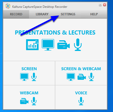 When the Recorder appears, click Settings.