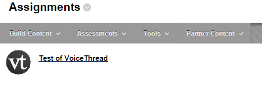 Locate your VoiceThread in Blackboard.