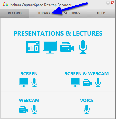 When the Kaltura CaptureSpace Desktop Recorder panel opens, click on Library.