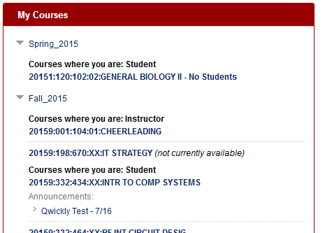 Click on your course on the Blackboard homepage.