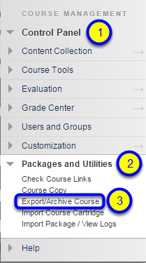 From the expanded menu, click on Export/Archive Course.