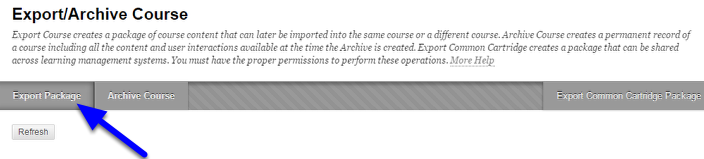 On the Export/Archive Course page, click Export Package on the action bar.