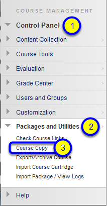 From the Control Panel within the course, click on Packages and Utilities then Course Copy.