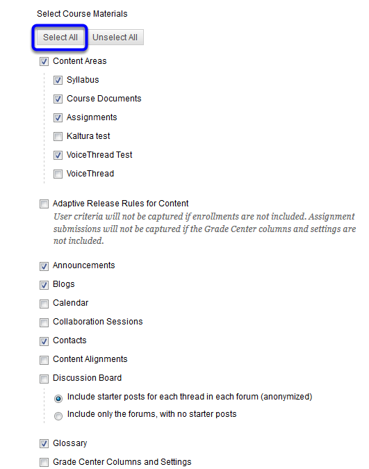 """Under """"Select Course Materials,"""" select the course content that you'd like copied into the new course. You can click """"Select All"""" if you'd like everything in the course copied."""