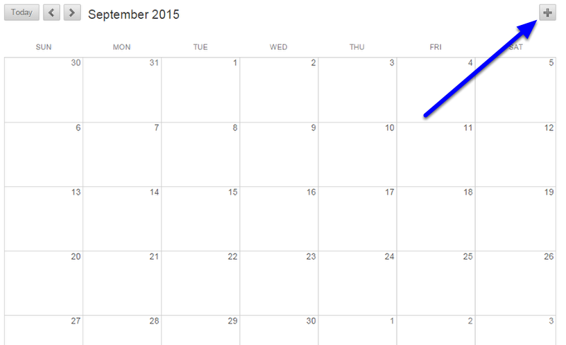 To add an event to your calendar, click the (+) icon at the top right of the page.