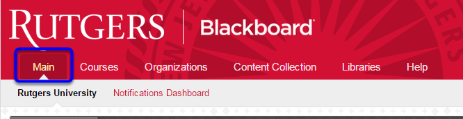 Click the Main tab to navigate to your homepage.